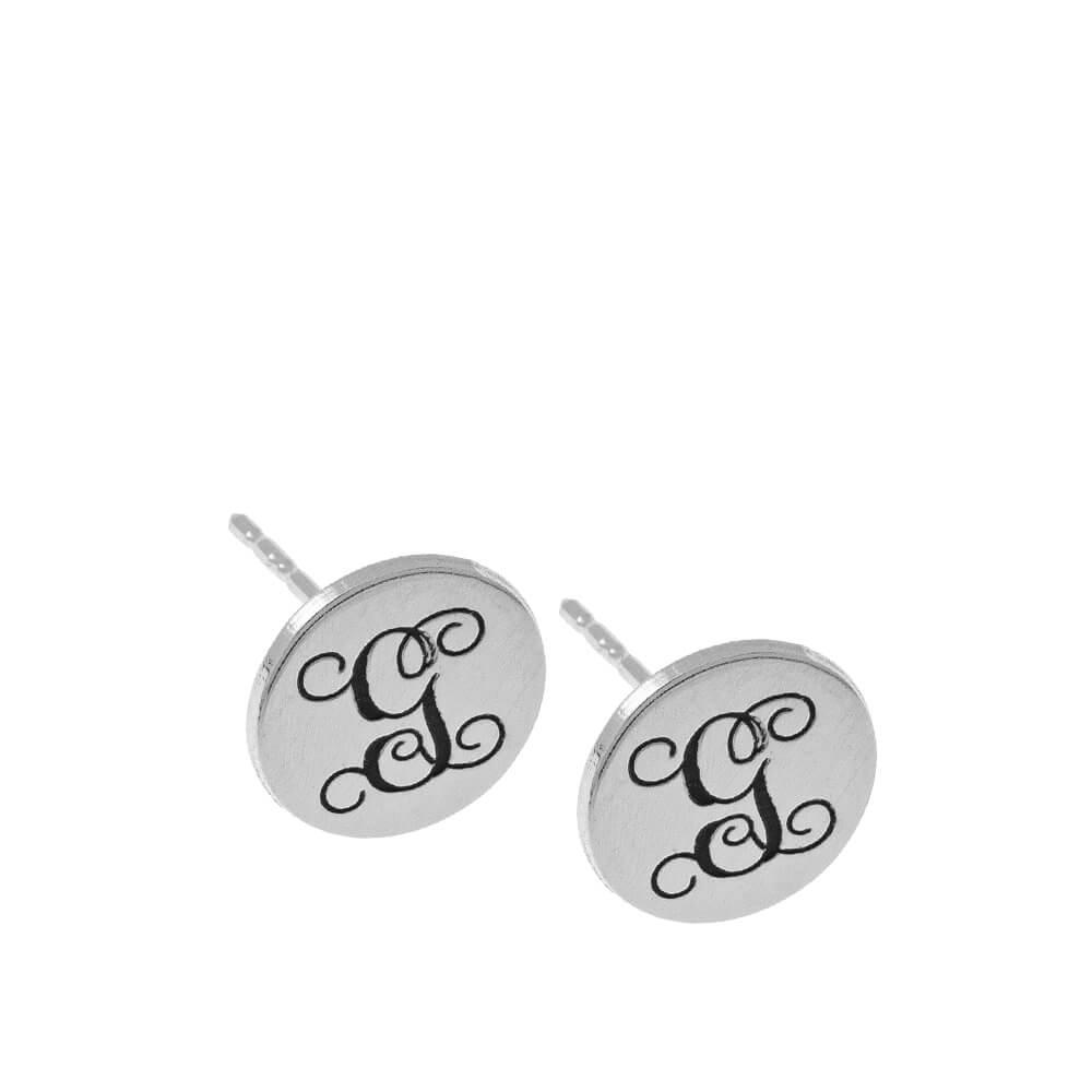 Circle Monogram Stud Orecchini silver