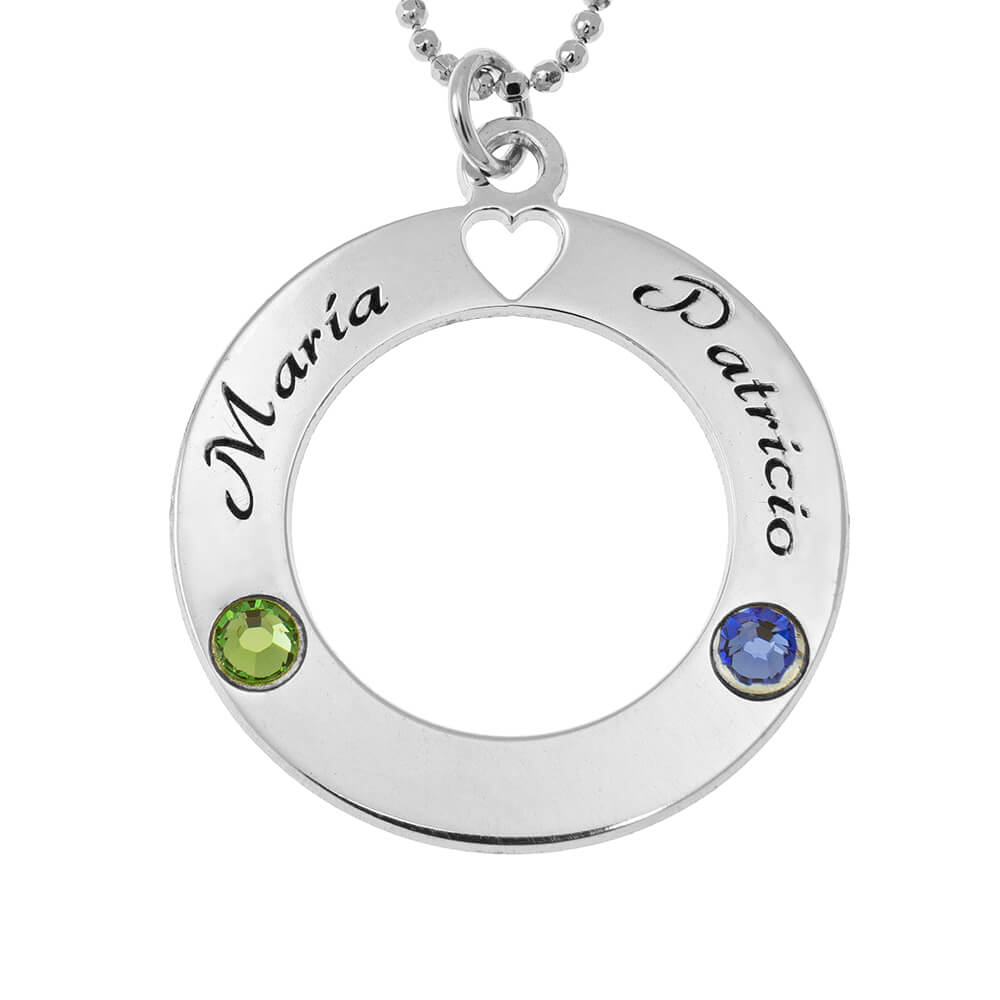 Circle of Love Collana with Birthstones silver