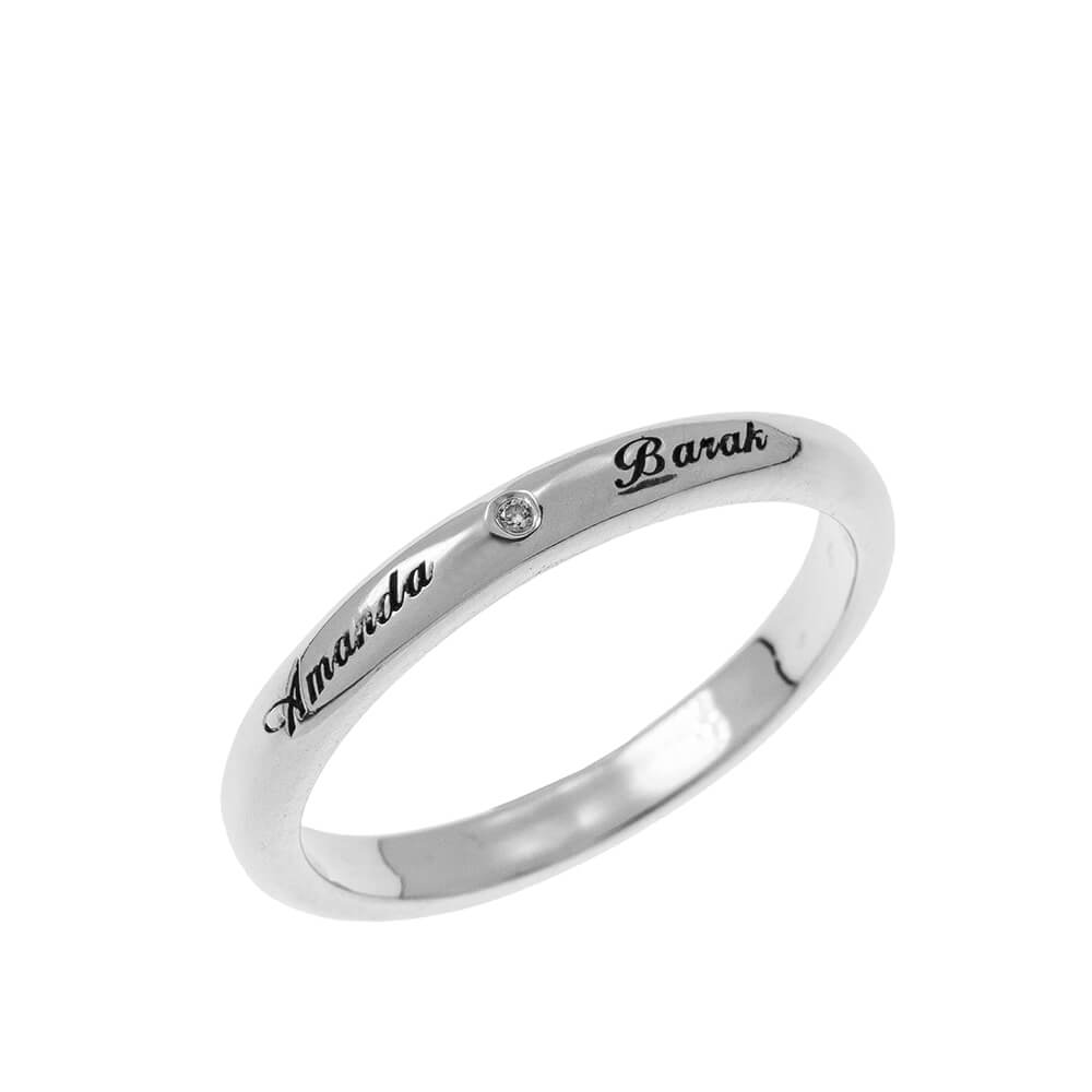 Classic Promise Ring with Incisione silver
