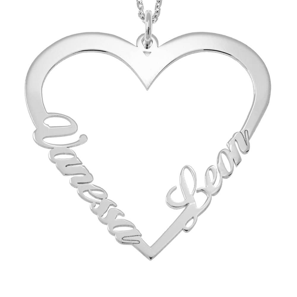 Couple Cuore Nome Collana silver