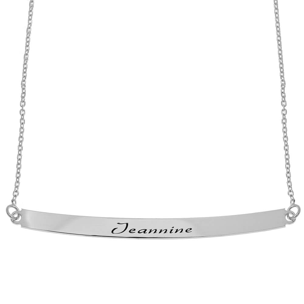 Curved Nome Plate Collana silver