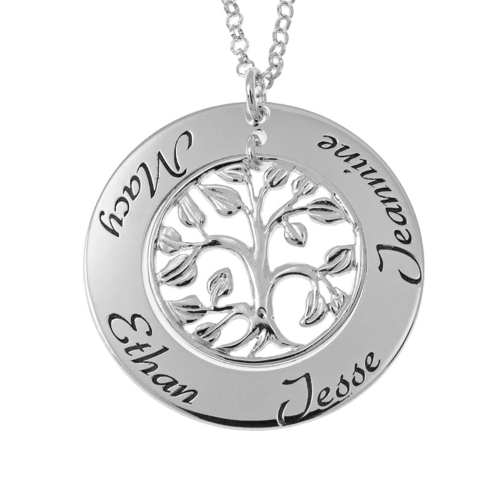 Cut Out Family Tree Nomi Collana silver