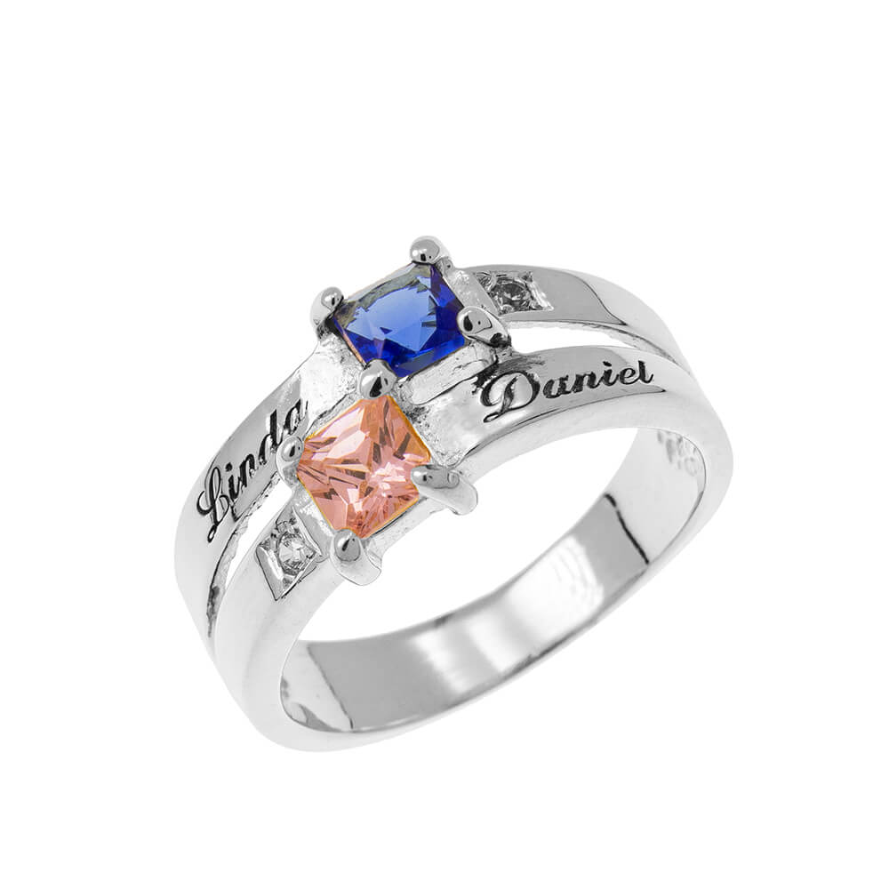 Double Birthstone Promise Ring silver