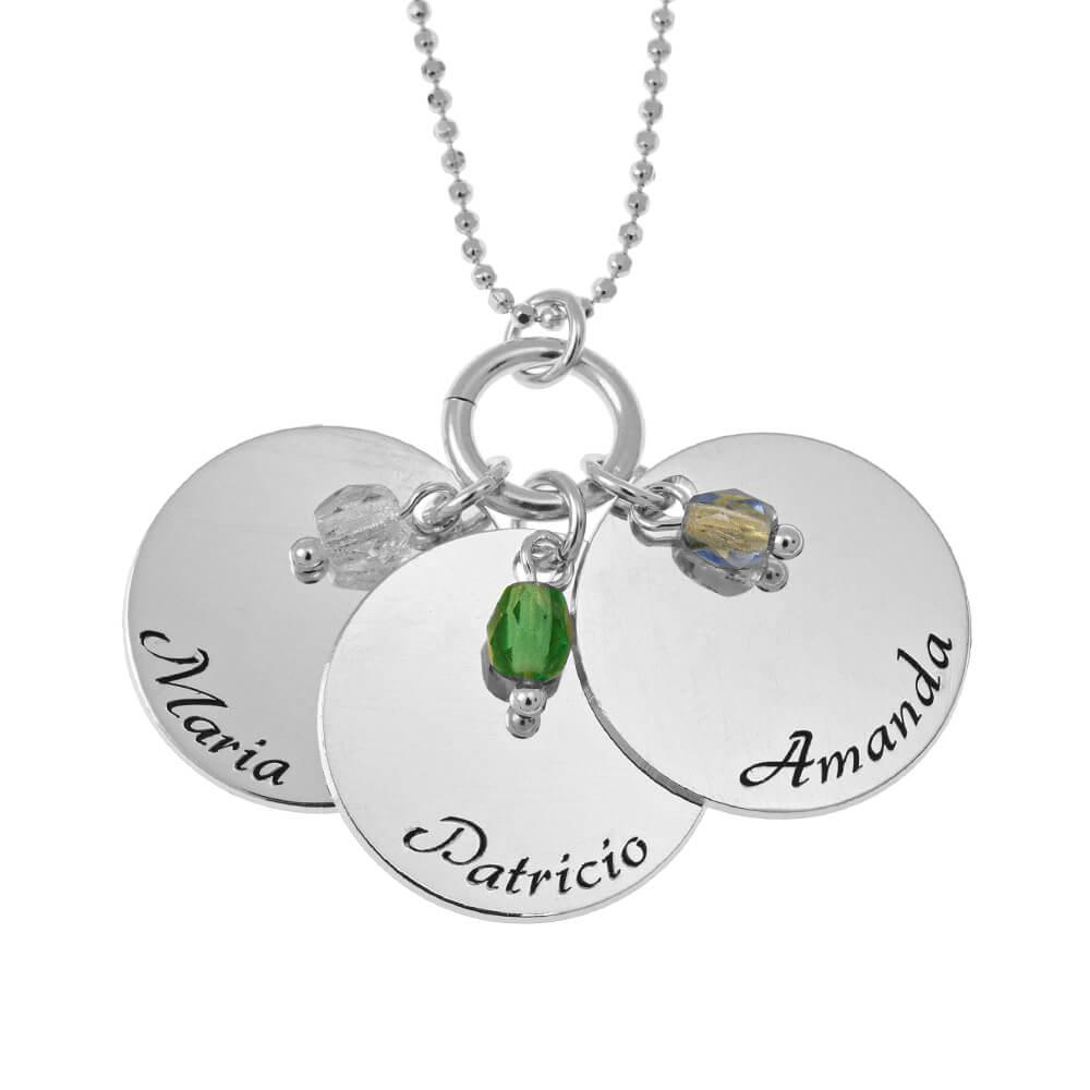 Elegant Three Dischi with Birthstone Ciondoli Collana silver