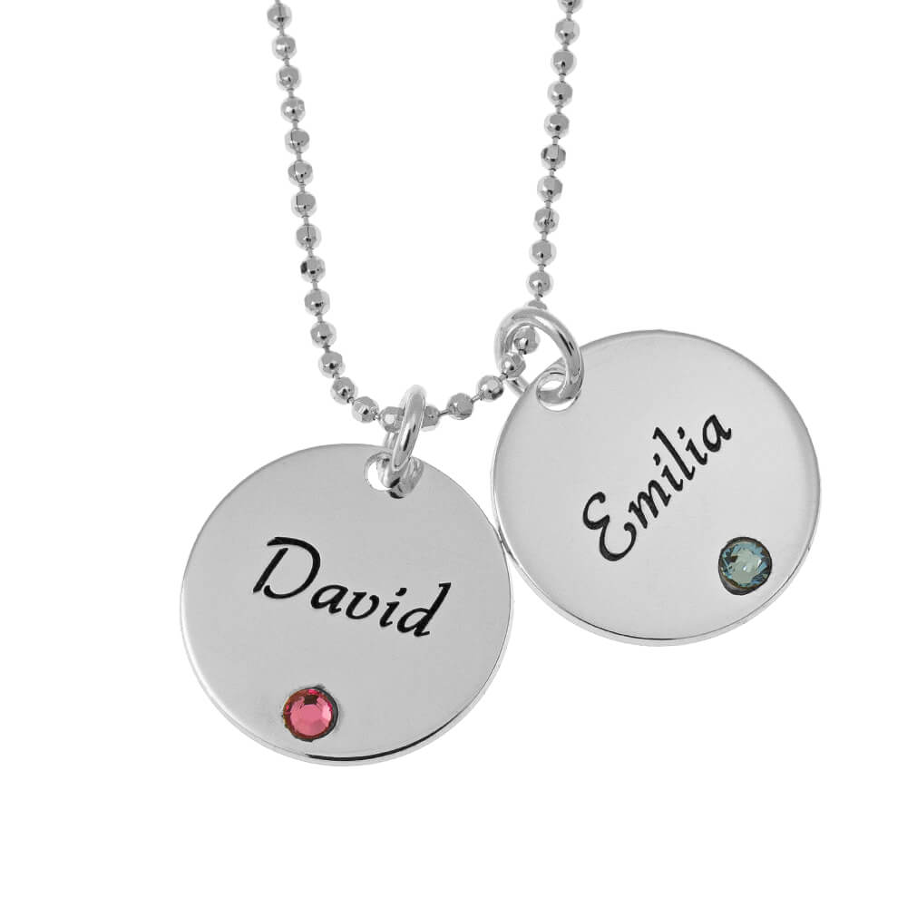 Elegant Two Dischi with Birthstones Collana silver