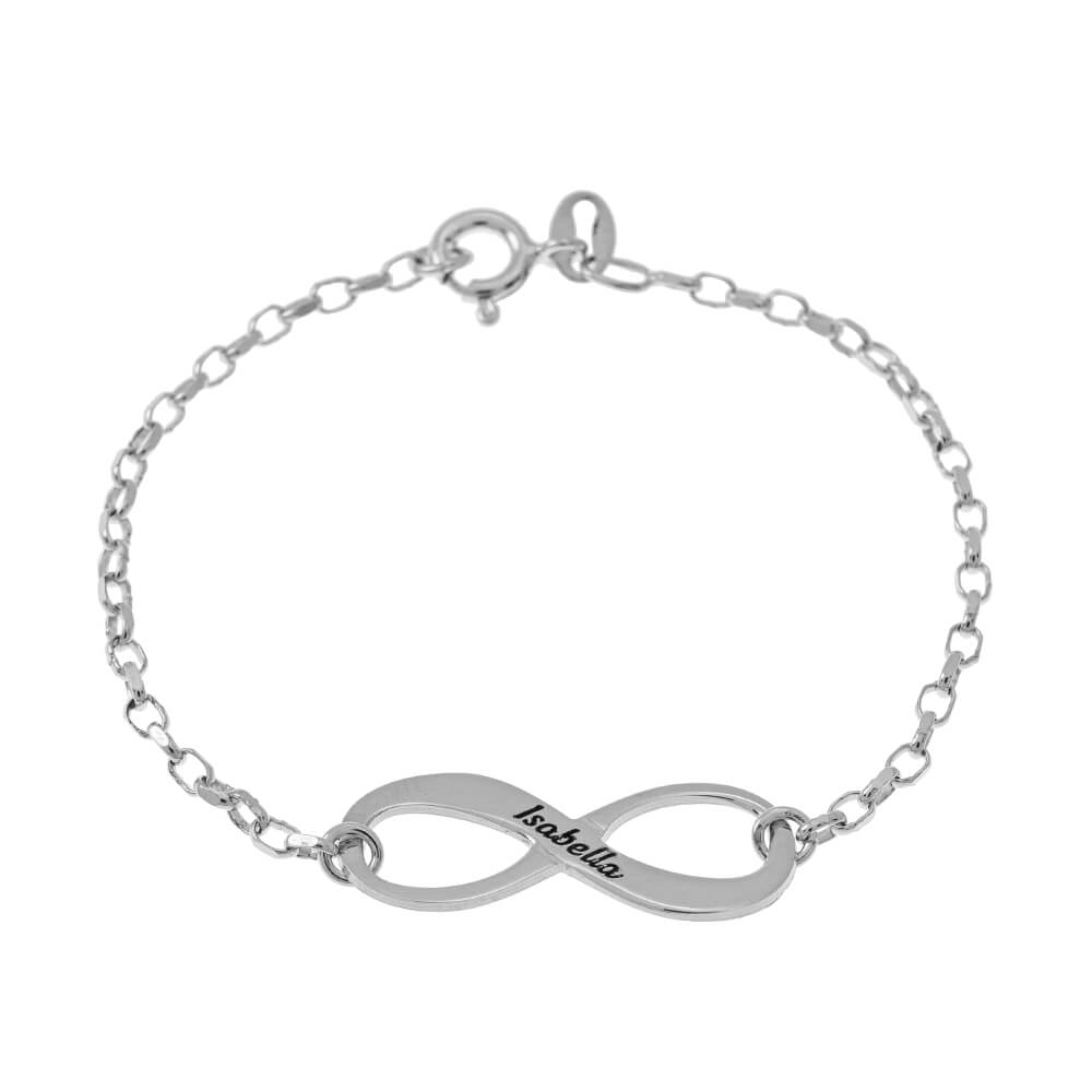 Engraved infinity Braccialetto silver