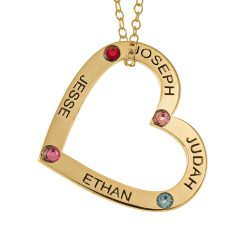 Family Cuore Pendente with Nomi and Birthstones gold