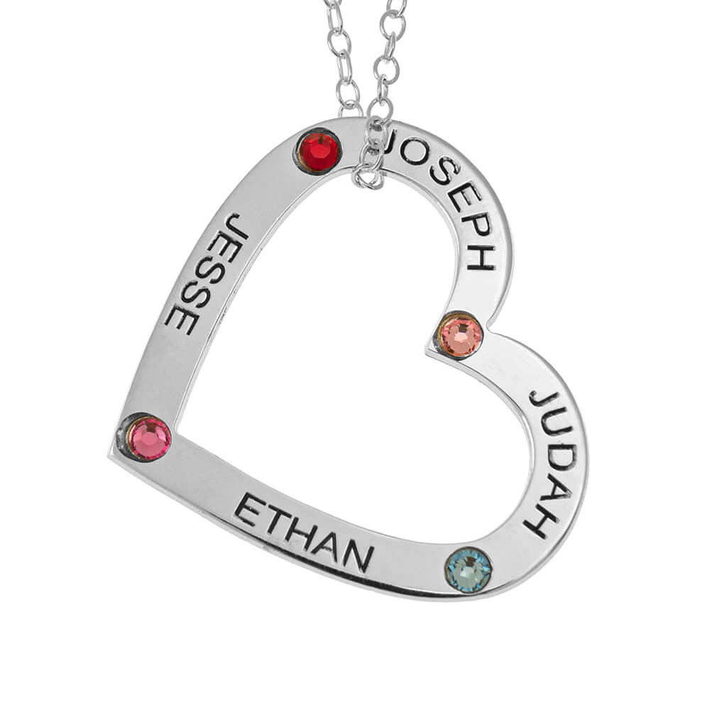 Family Cuore Pendente with Nomi and Birthstones silver