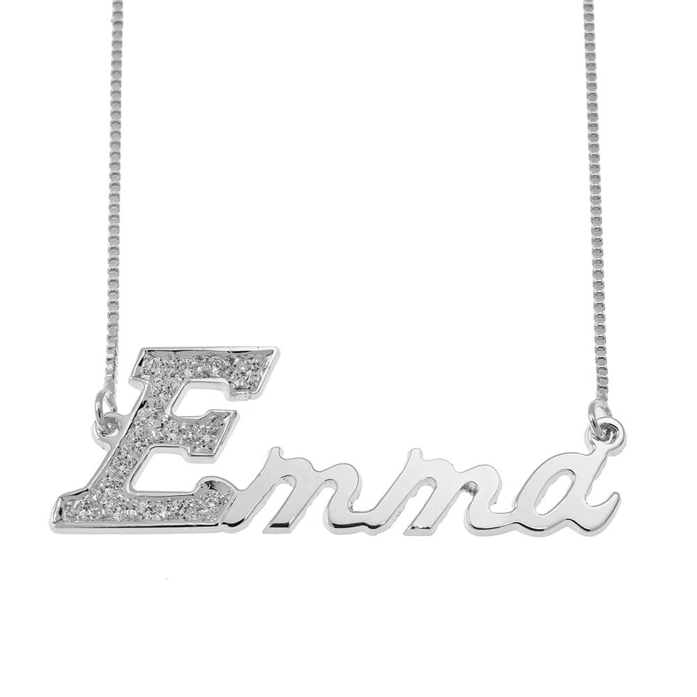 First Letter Nome Collana with Swarovski silver
