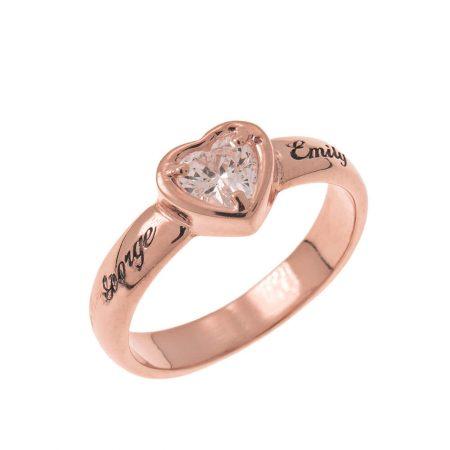 Anello di Fidanzamento con Cuore a Pietra Preziosa e Incisione