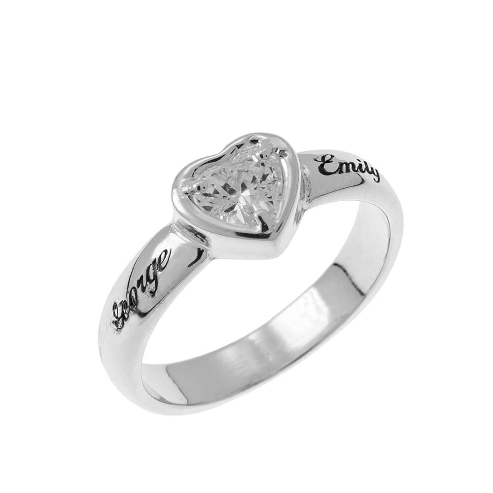 Gemstone Cuore Promise Ring with Incisione silver
