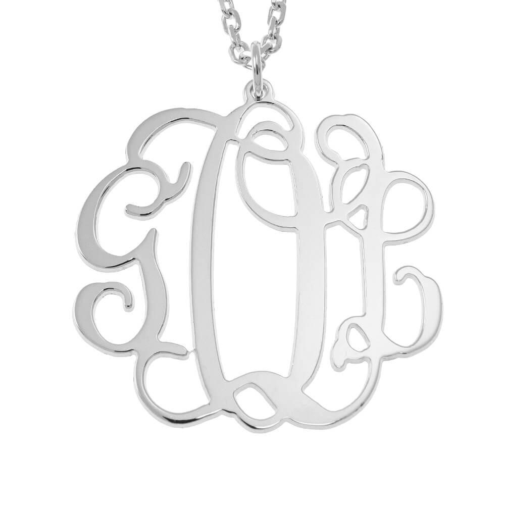 Hanging Monogram Collana silver