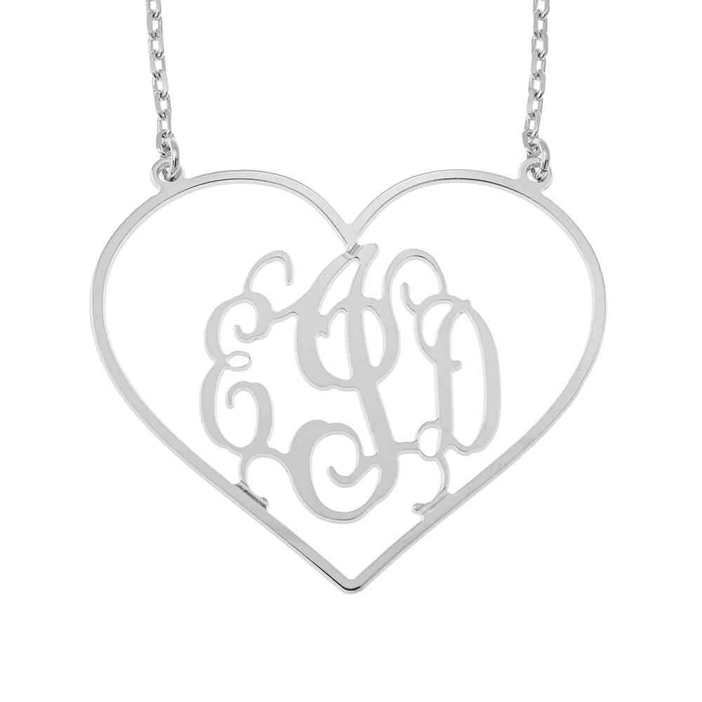 Cuore Shape Monogram Collana silver