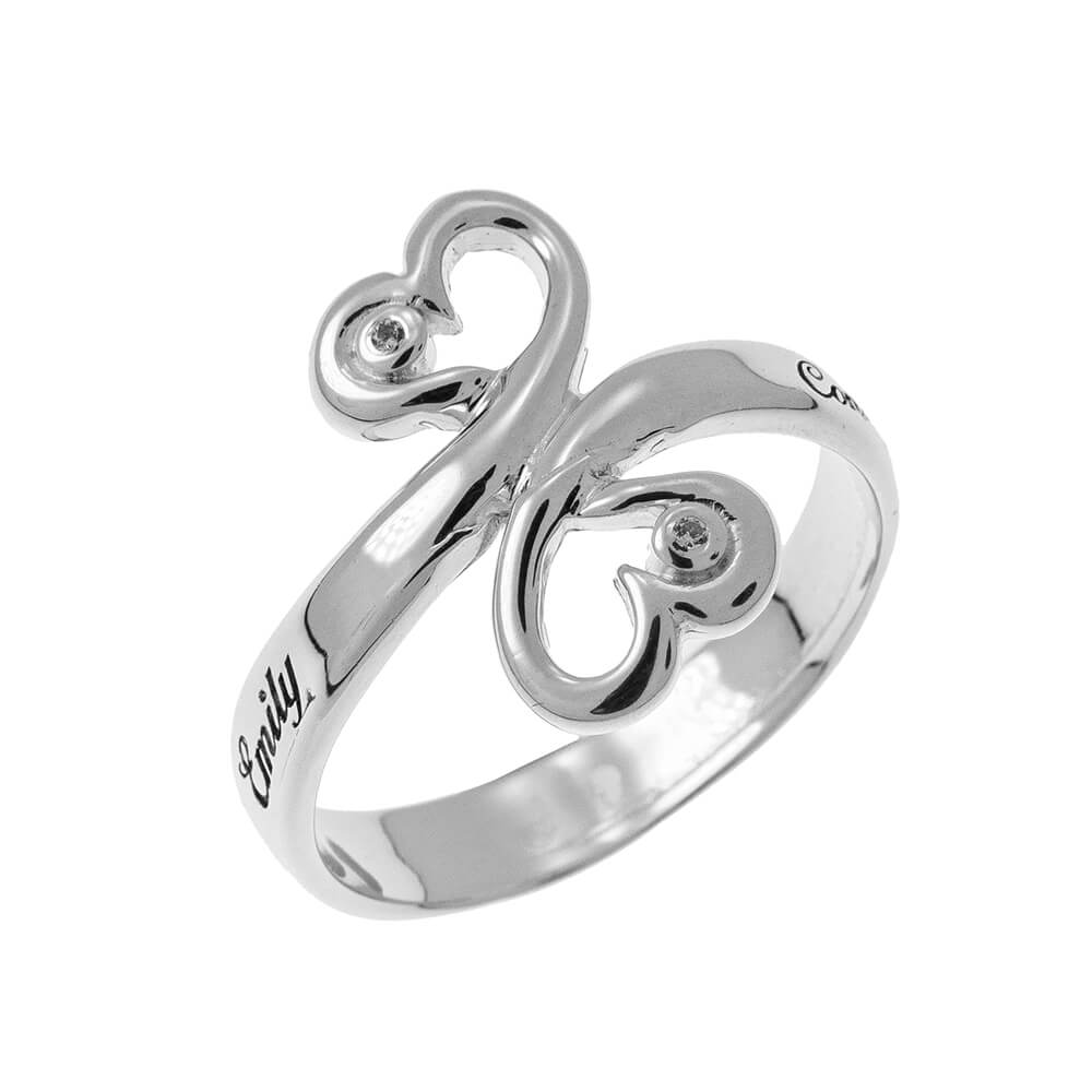 Cuore to Cuore Promise Ring with Birthstones silver 1
