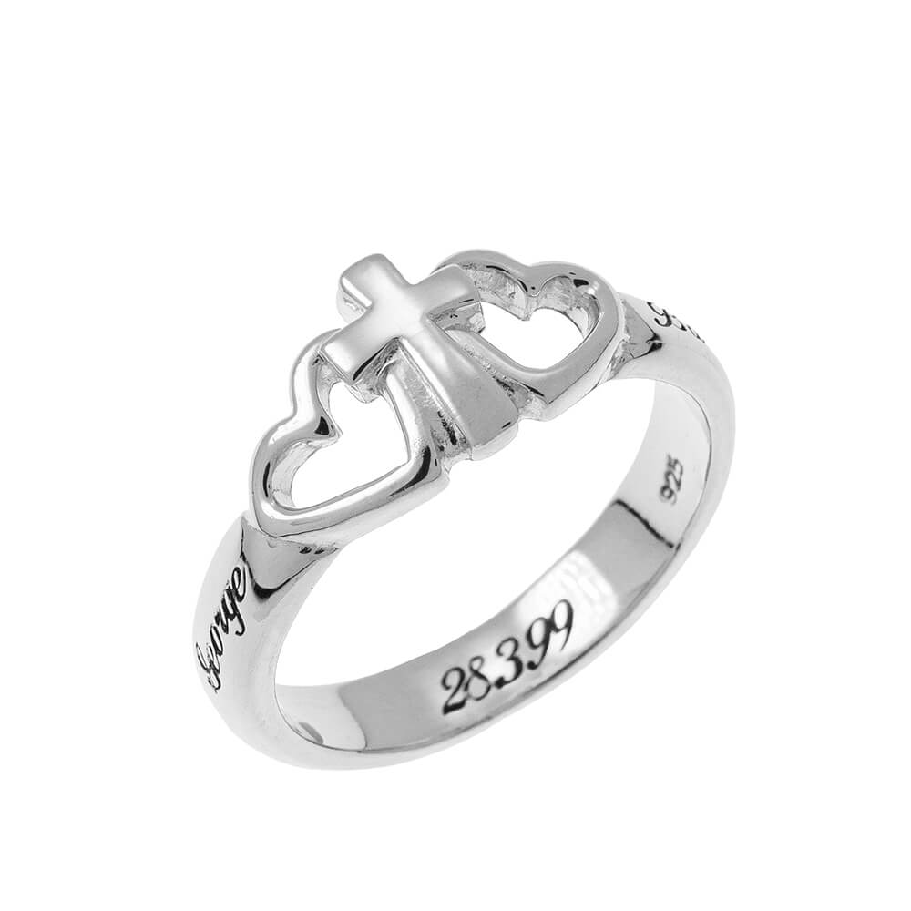 Cuori and Cross Promise Ring silver