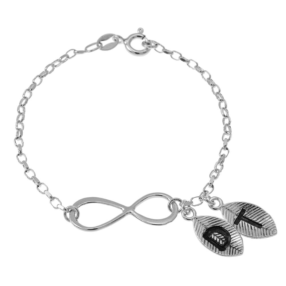 Infinity and Leaves Braccialetto silver