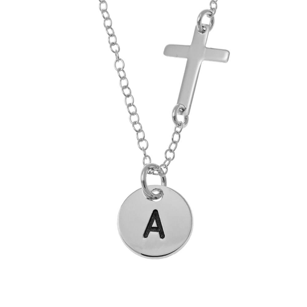Initial Discoand Cross Collana silver