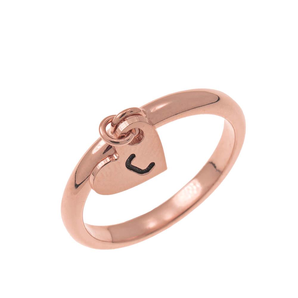 Initial Cuore Ciondolo Ring rose gold