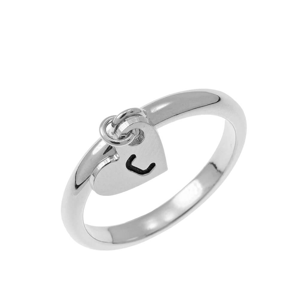 Initial Cuore Ciondolo Ring silver