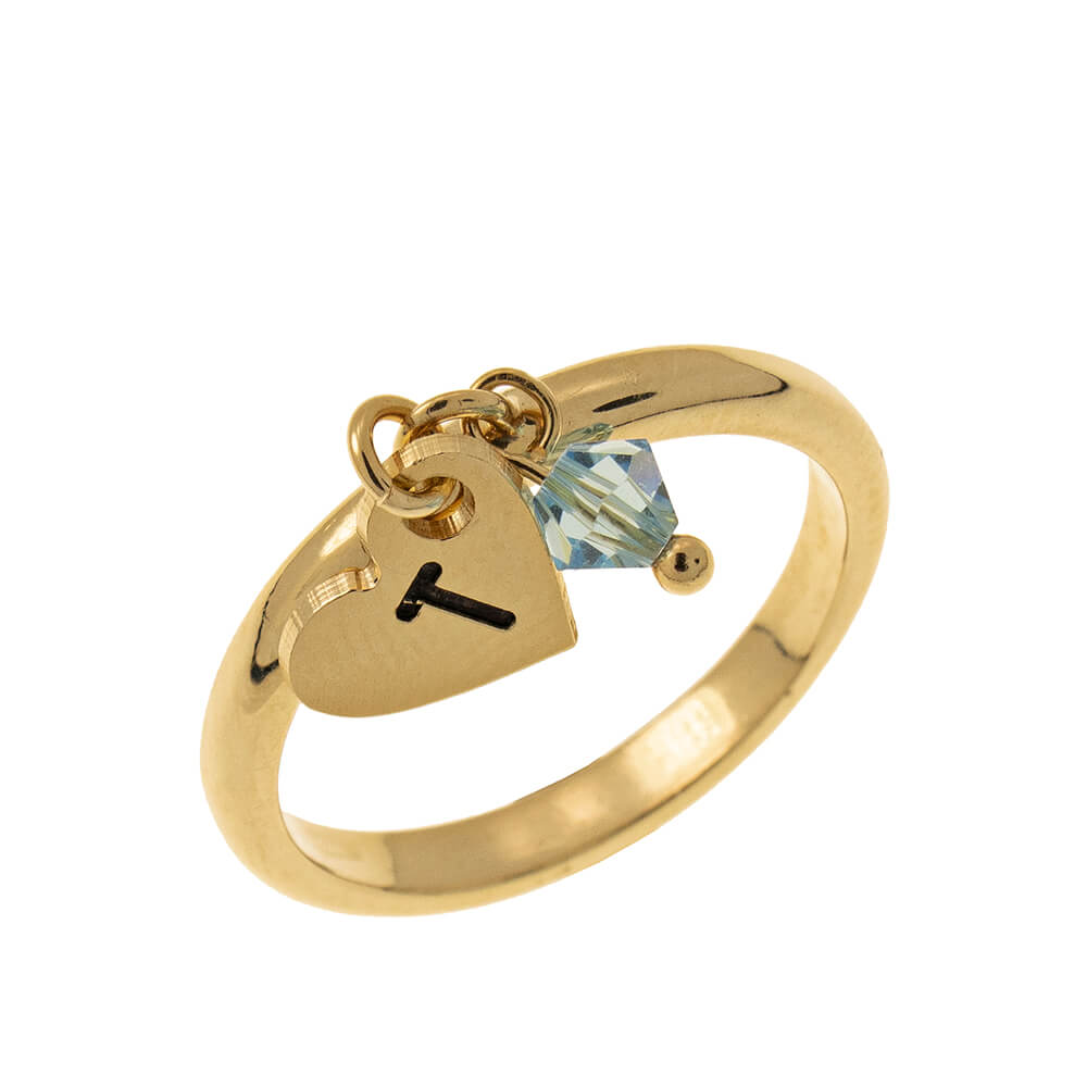 Initial Cuore Ciondolo Ring with Birthstone gold