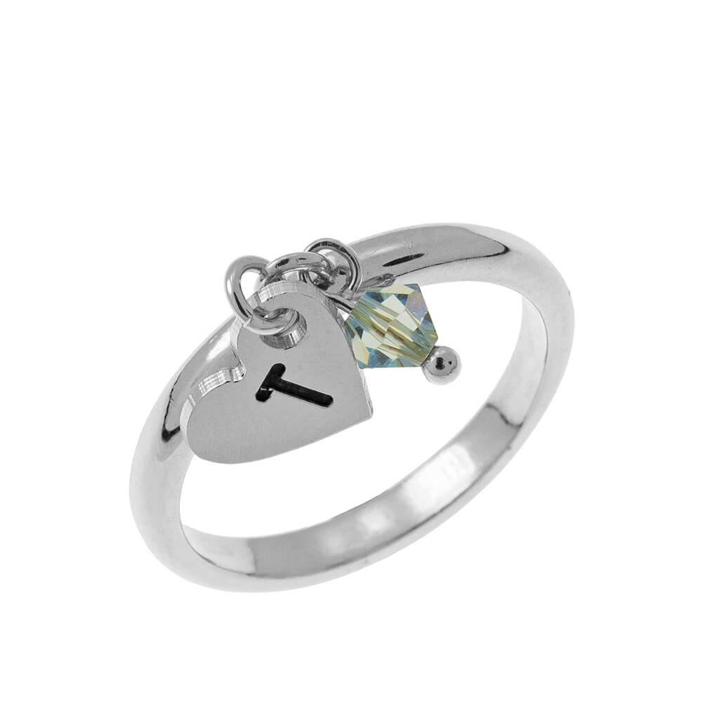Initial Cuore Ciondolo Ring with Birthstone silver