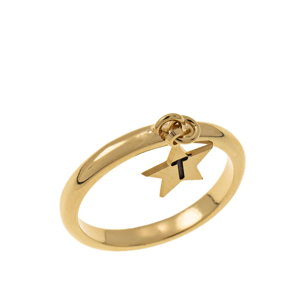Initial Star Ciondolo Ring gold