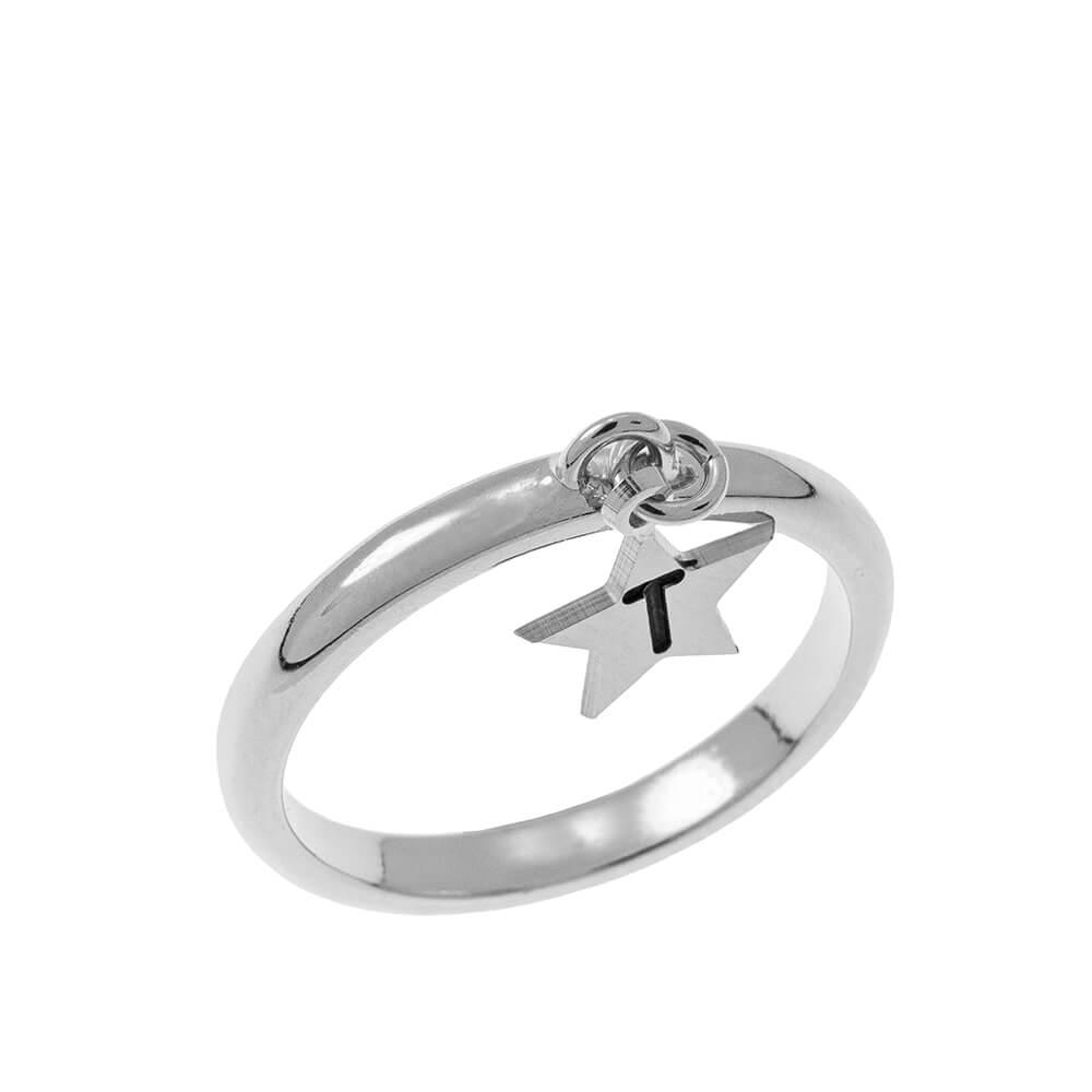 Initial Star Ciondolo Ring silver