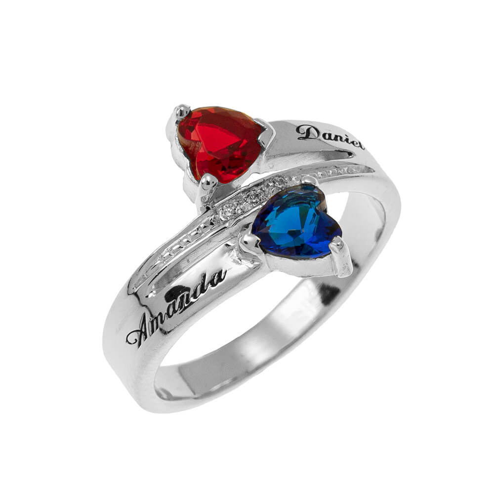 Inlay Double Cuore Birthstone Promise Ring silver