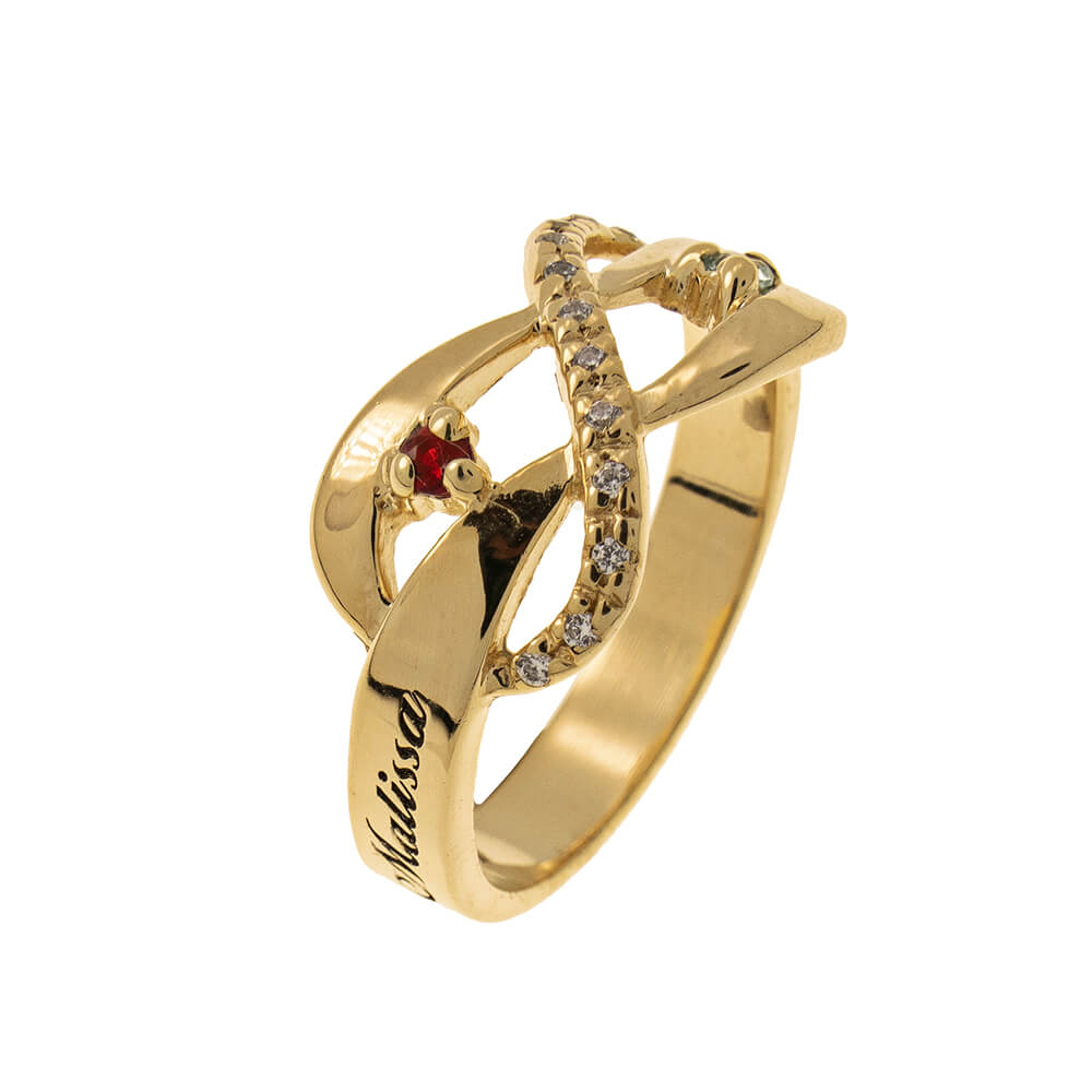 Inlay Infinity Ring with Birthstones gold 2