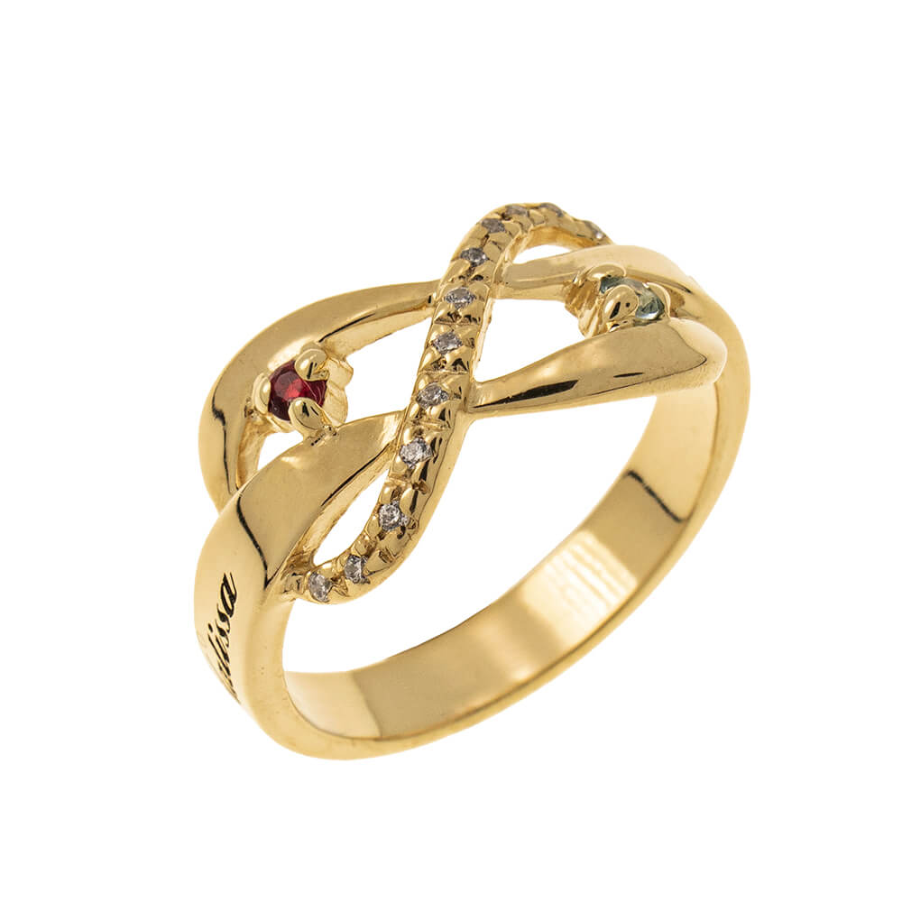 Inlay Infinity Ring with Birthstones gold
