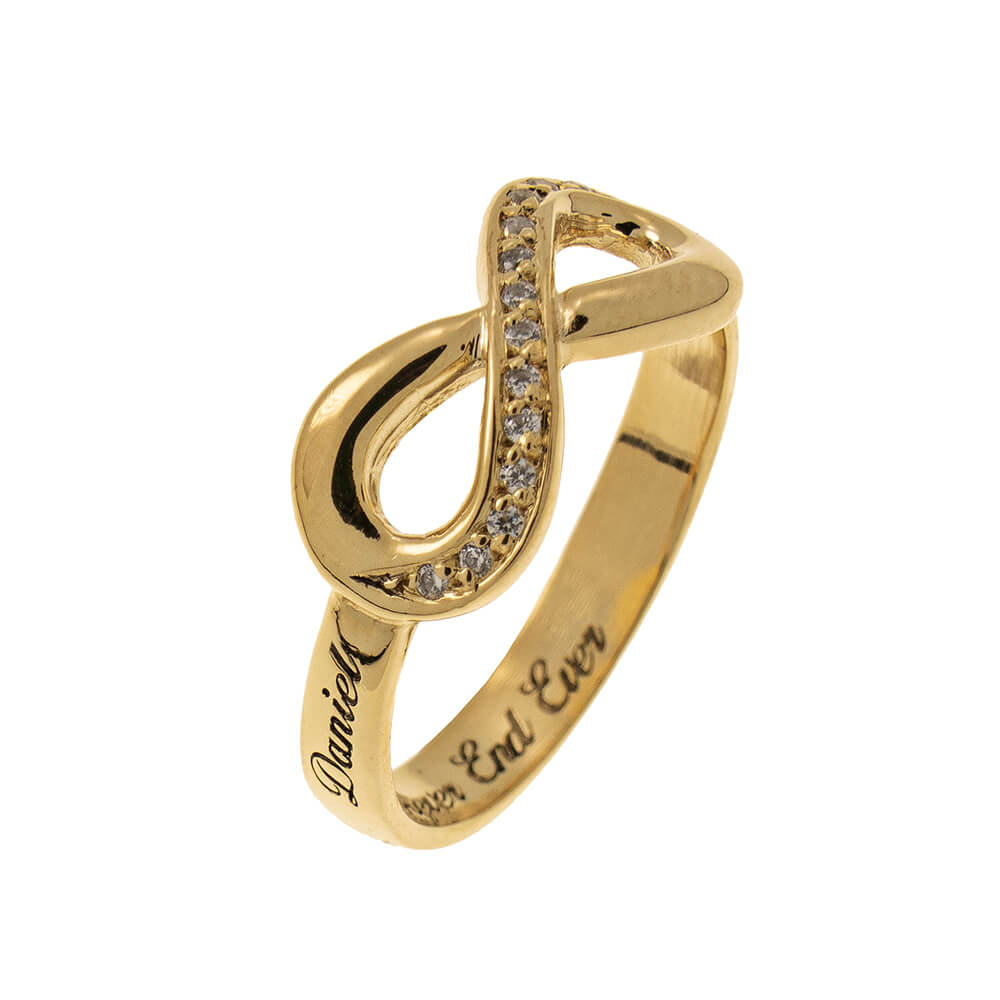 Inlay Infinity Ring with Incisione gold 2