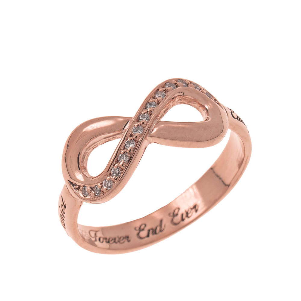Inlay Infinity Ring with Incisione rose gold