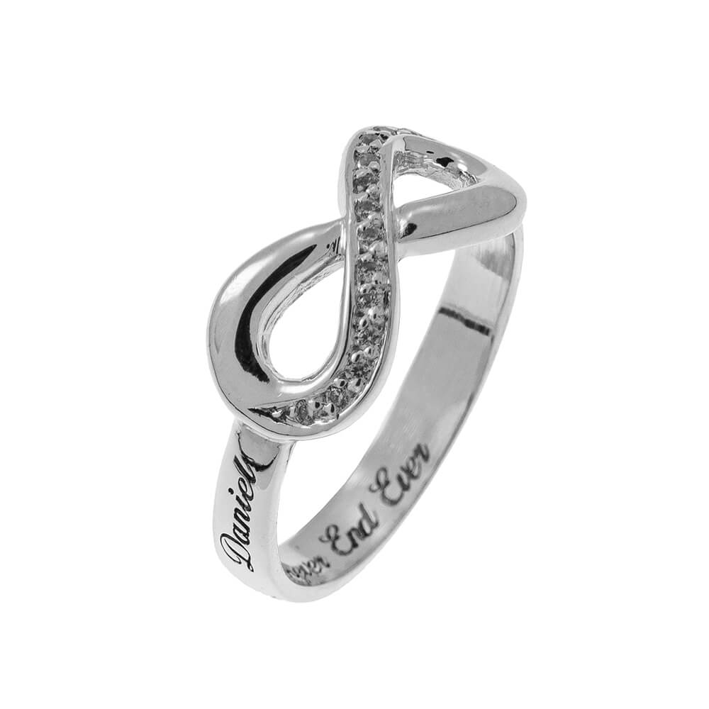 Inlay Infinity Ring with Incisione silver 2