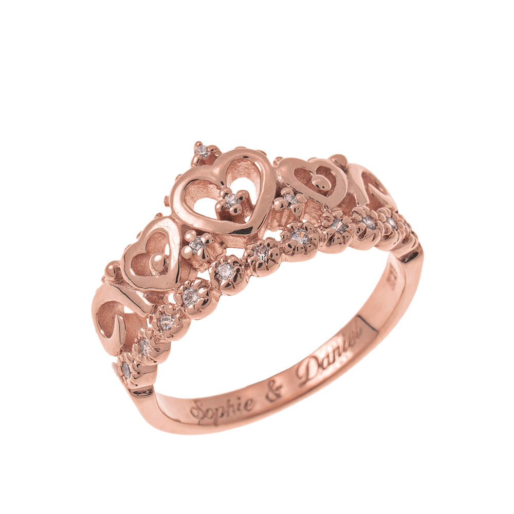 Inner Incisione Crown Ring rose gold