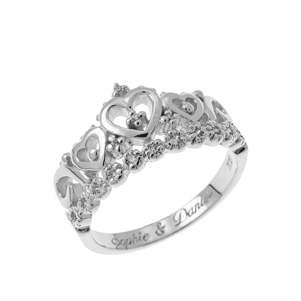 Inner Incisione Crown Ring silver