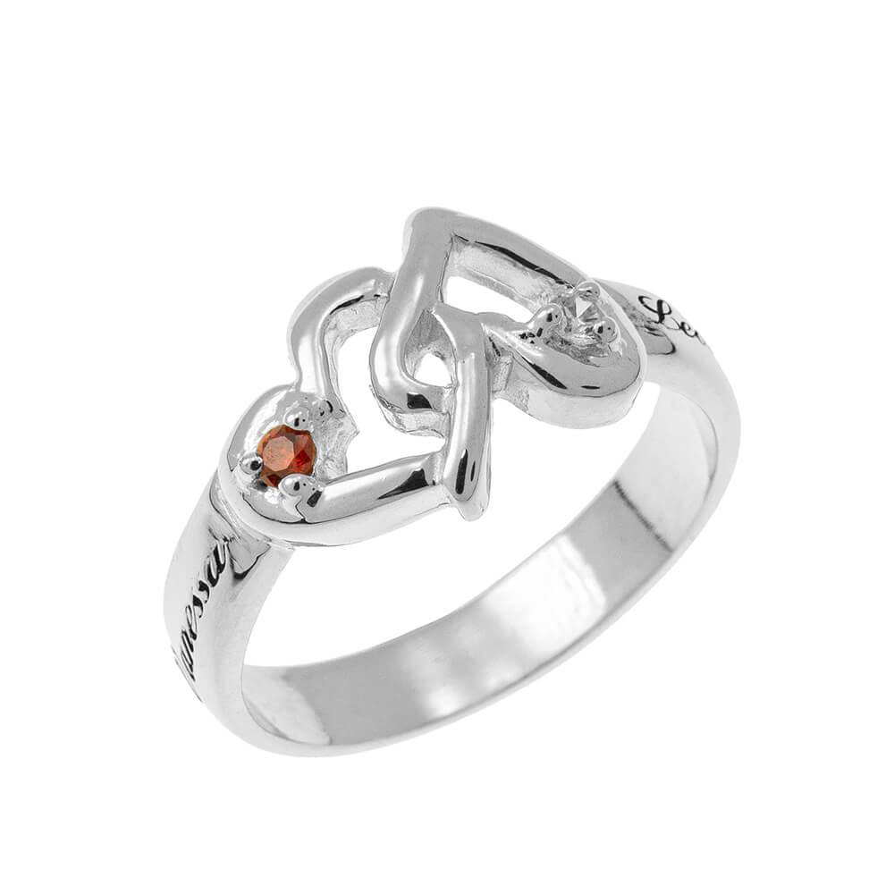 Interlocking Birthstones Cuori Ring silver 1