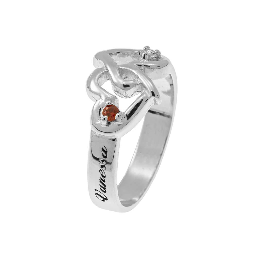 Interlocking Birthstones Cuori Ring silver
