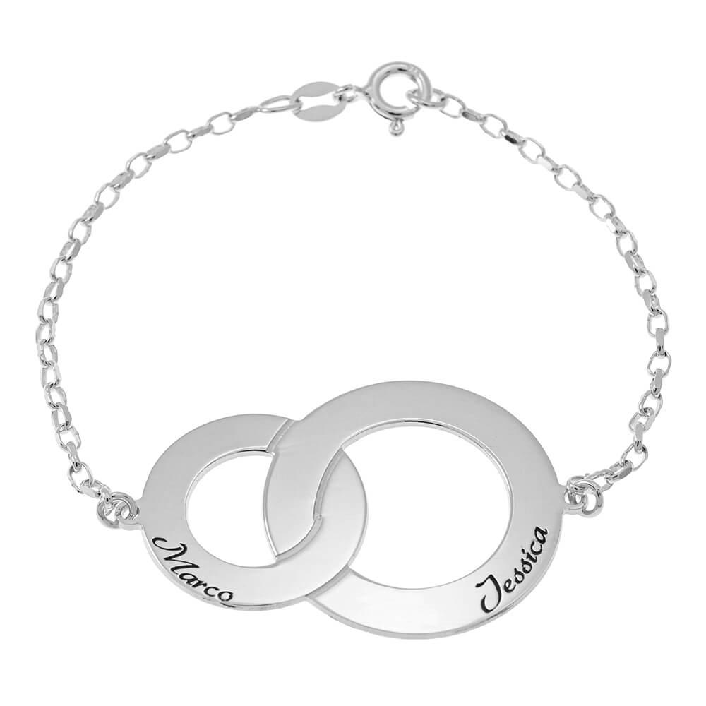 Interlocking Circles Braccialetto with Nomi silver