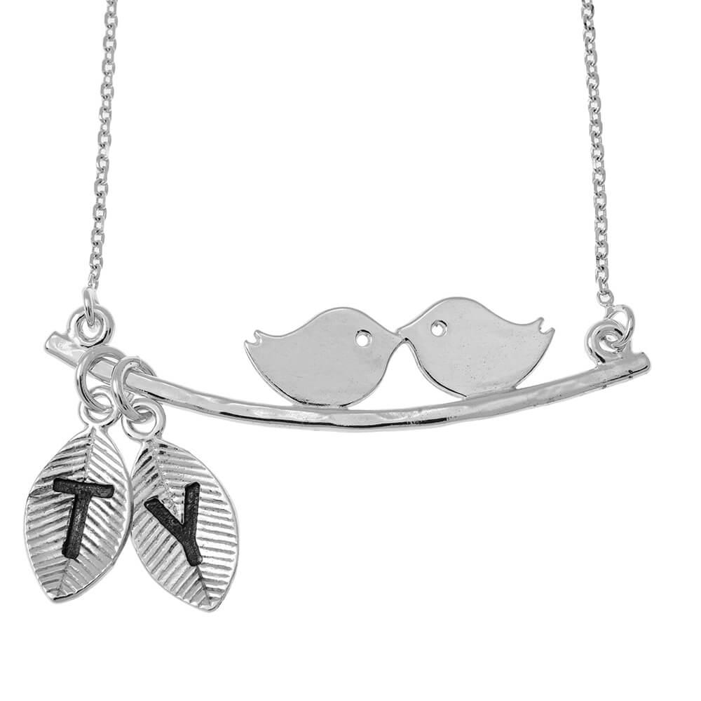 Love Birds Collana With Leaves silver