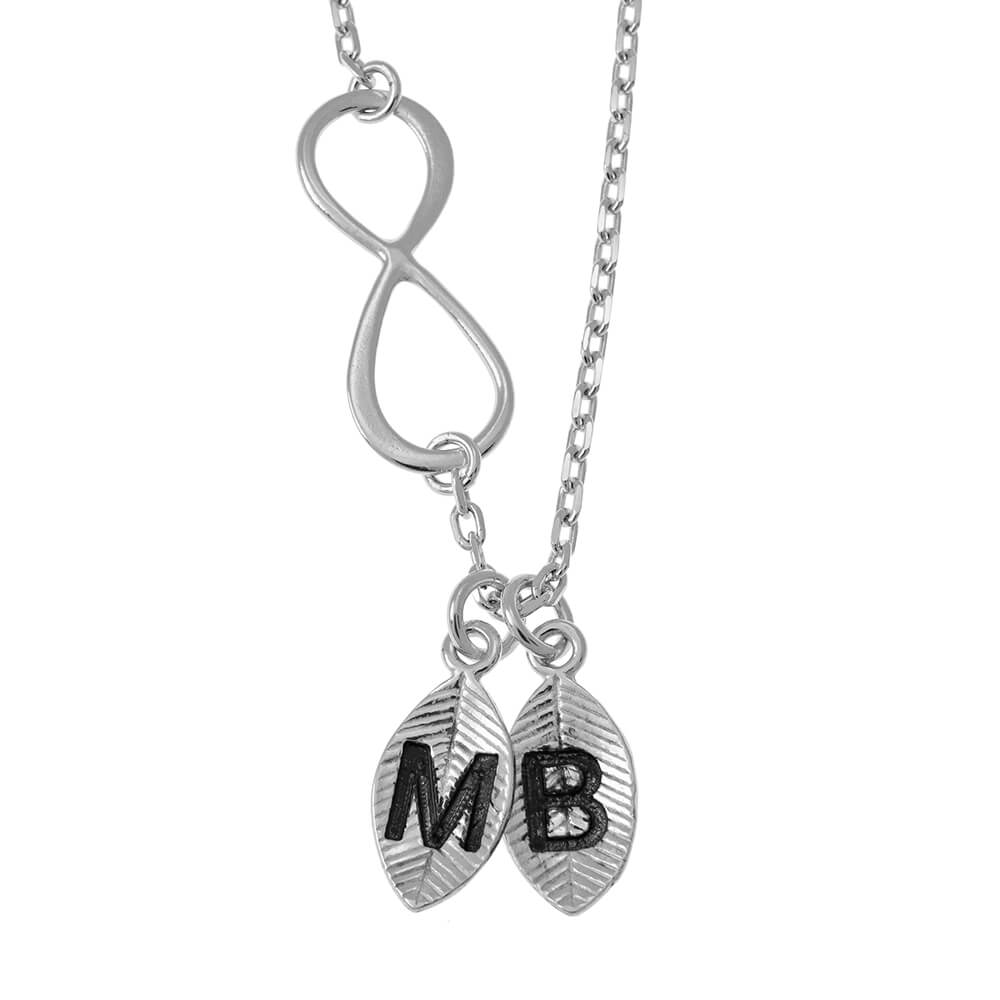 Lovers Infinity Collana with Leaves silver