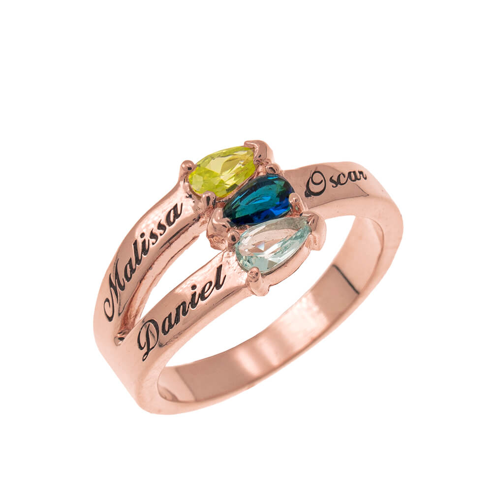 Mothers' Ring with Three Birthstones rose gold