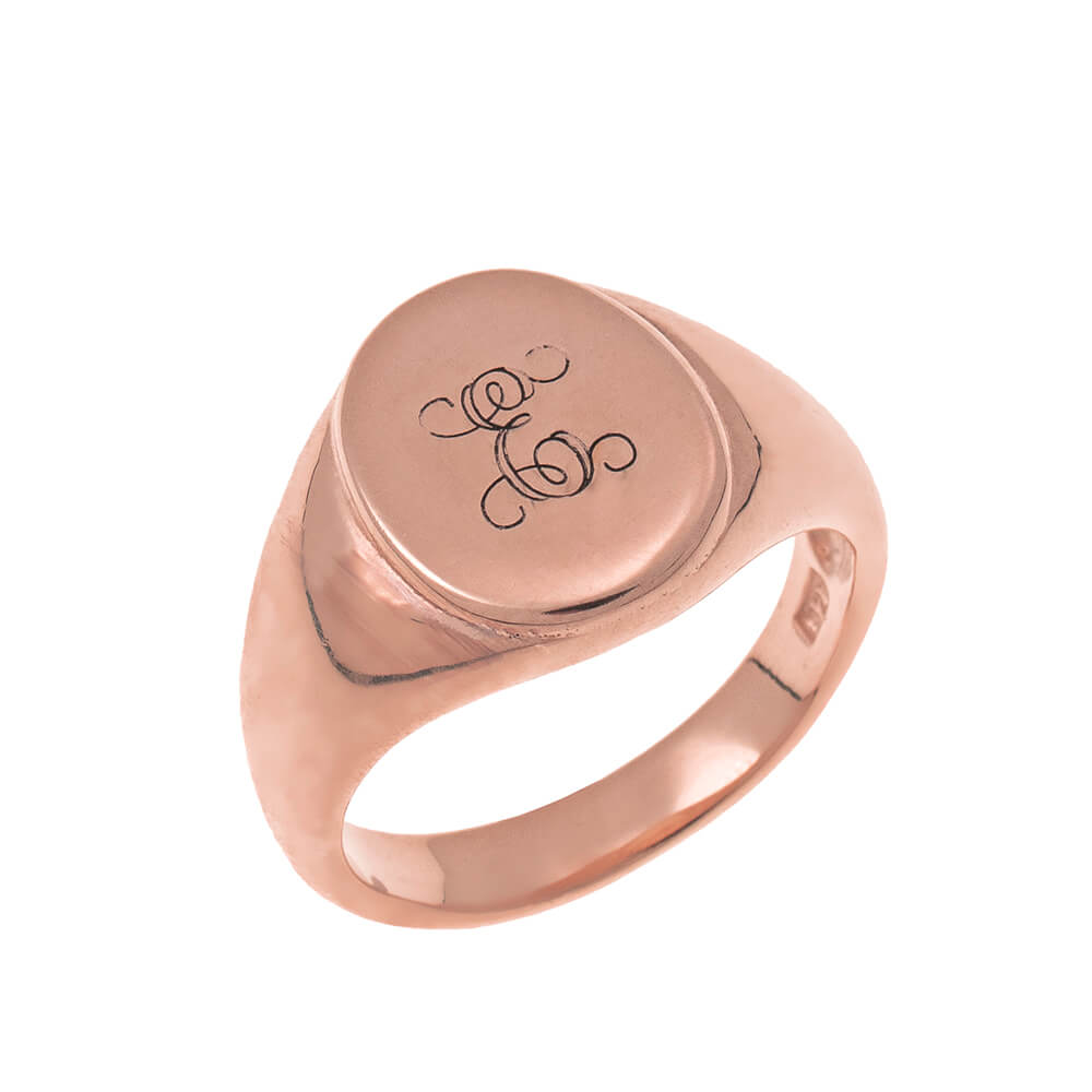 Oval Signet Ring with Monogram rose gold