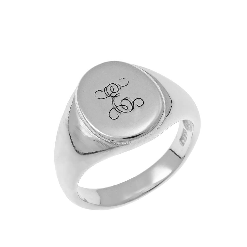 Oval Signet Ring with Monogram silver