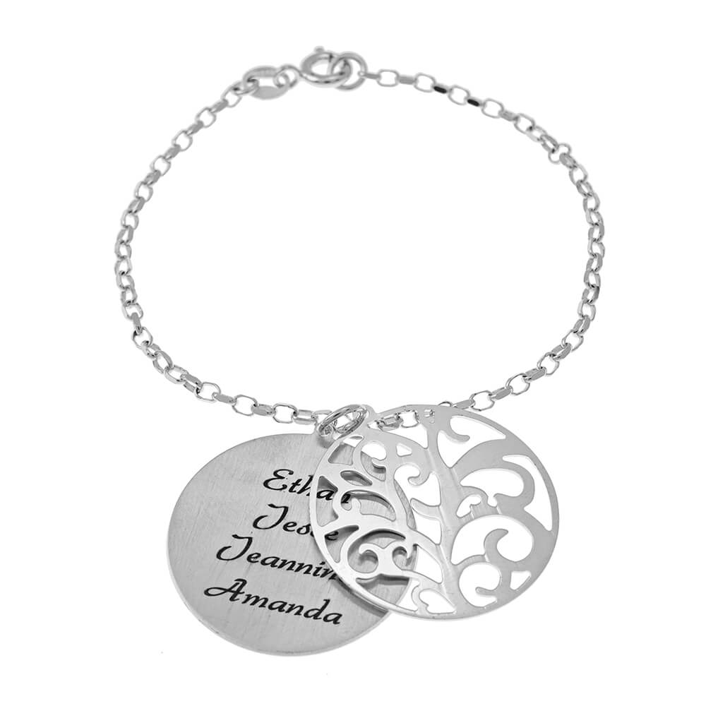 Personalized Double Layer Family Tree Braccialetto silver
