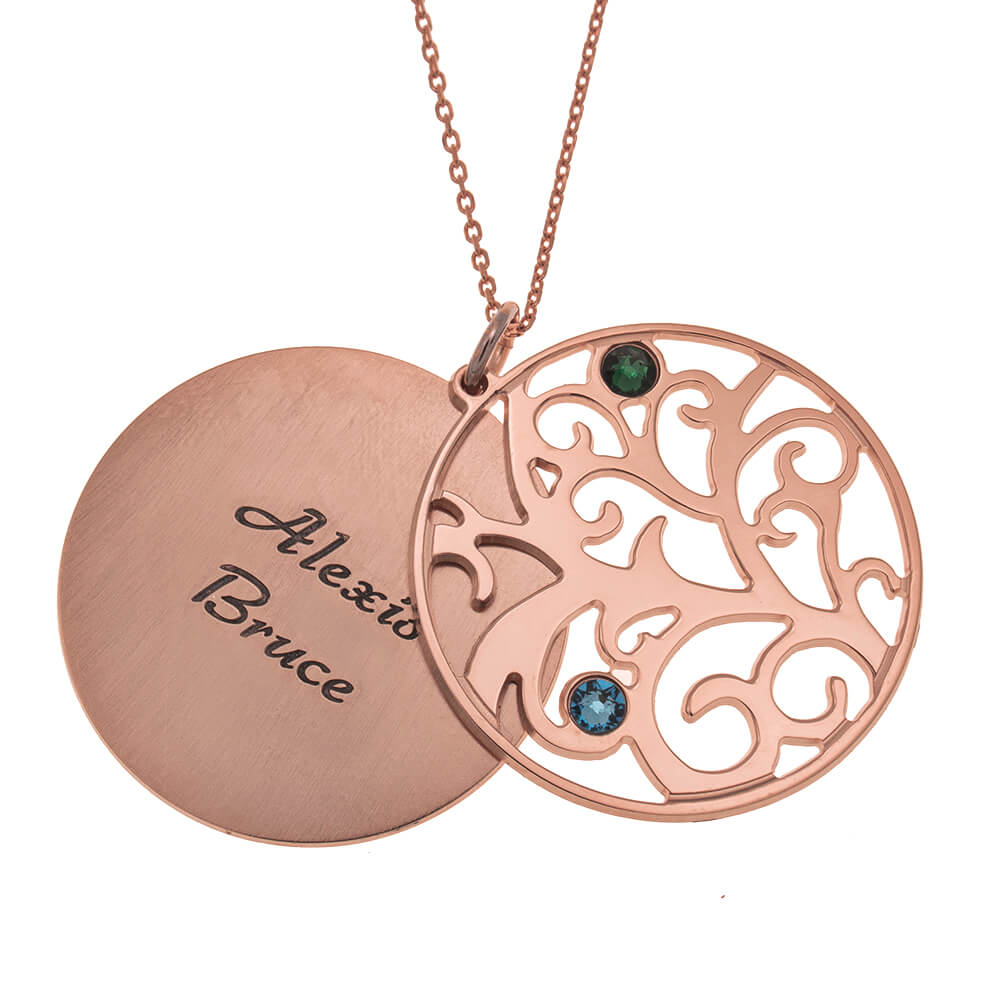 Personalized Double Layer Family Tree Collana 2 names rose gold