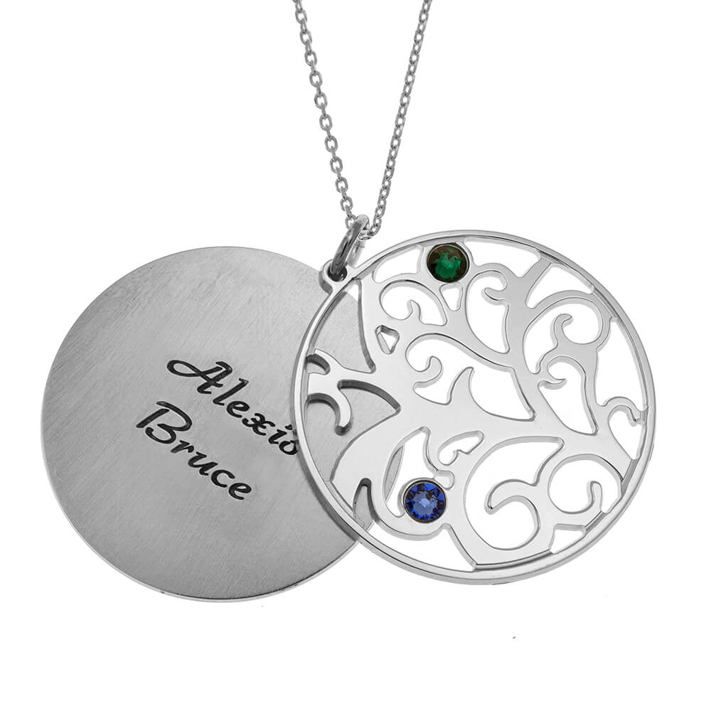 Personalized Double Layer Family Tree Collana 2 names silver