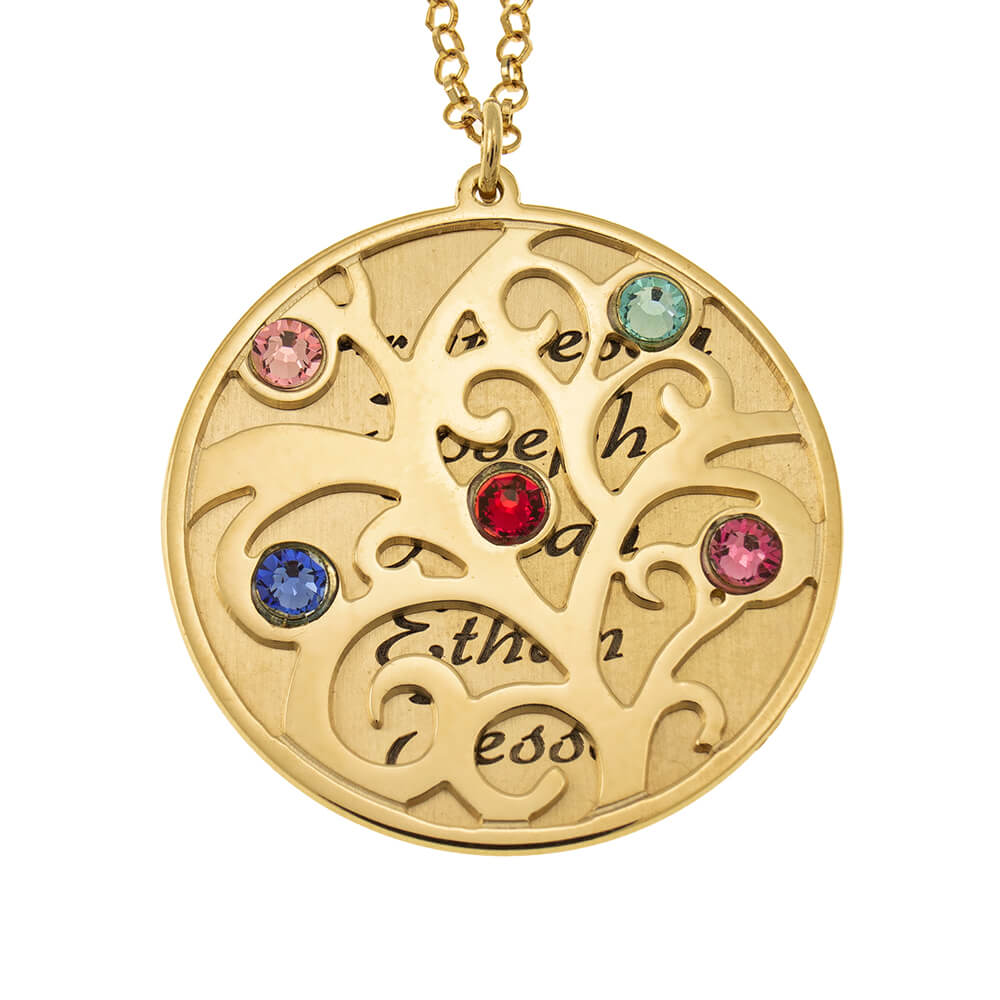 Personalized Double Layer Family Tree Collana gold
