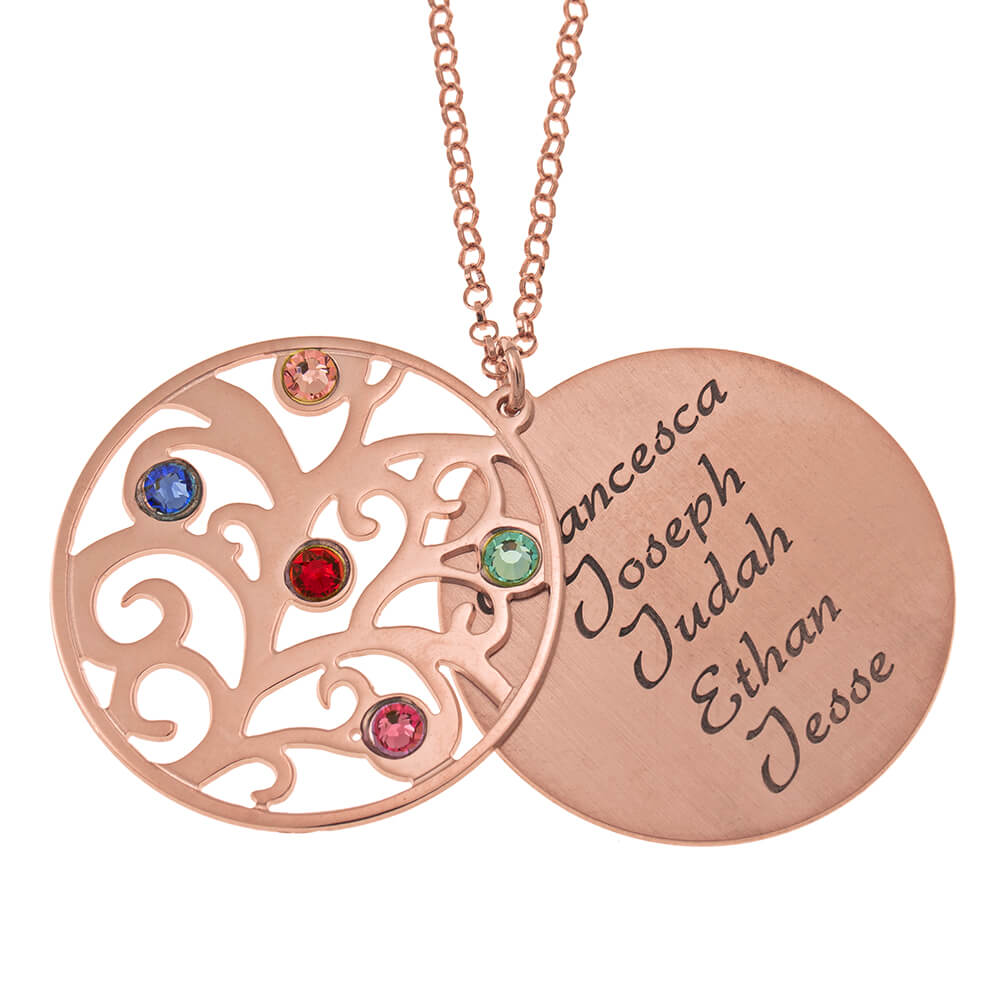 Personalized Double Layer Family Tree Collana rose gold 1