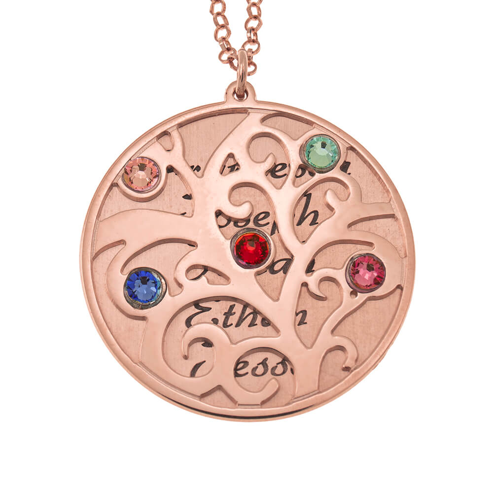 Personalized Double Layer Family Tree Collana rose gold