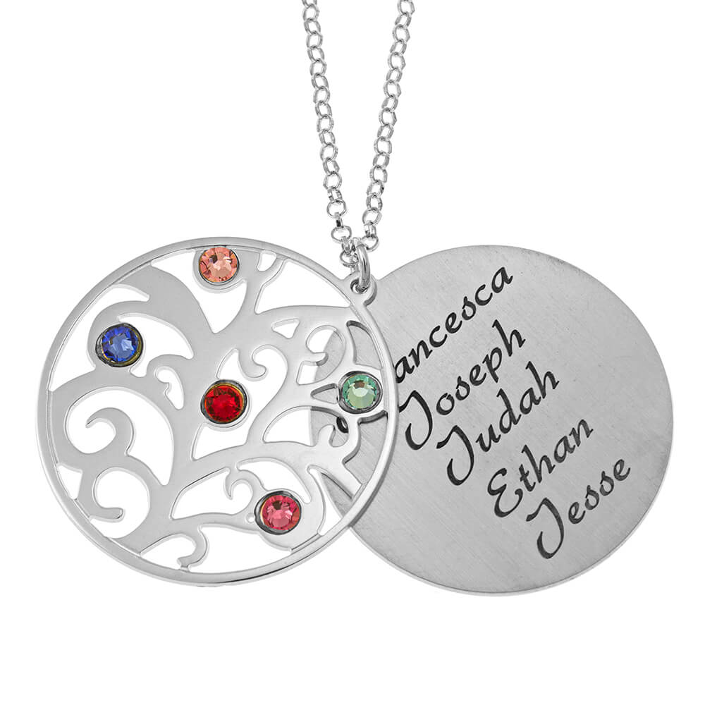 Personalized Double Layer Family Tree Collana silver 1